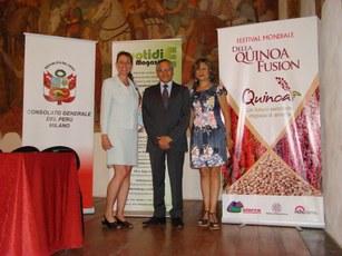Console Generale del Peru Ramiro Silva Simona Lauri Quotidie Magazine e Maricela Sinchez Umanitaria