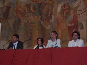 Tavolo dei relatori da sin Rafael Lusitani Cristina Ganimede Simona Lauri Marco Calderoni