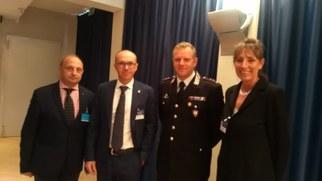 I Relatori del convegno ANTIM Da dx Avv. Durazzo, Presidente ANTIM Lorenzo Cavalli Te. Col. Propato Dott.ssa Simona Lauri
