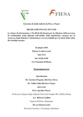 Acrilammide 26 giugno convegno Roma